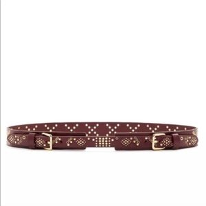 Rebecca Minkoff Studded Double Buckle Leather Belt